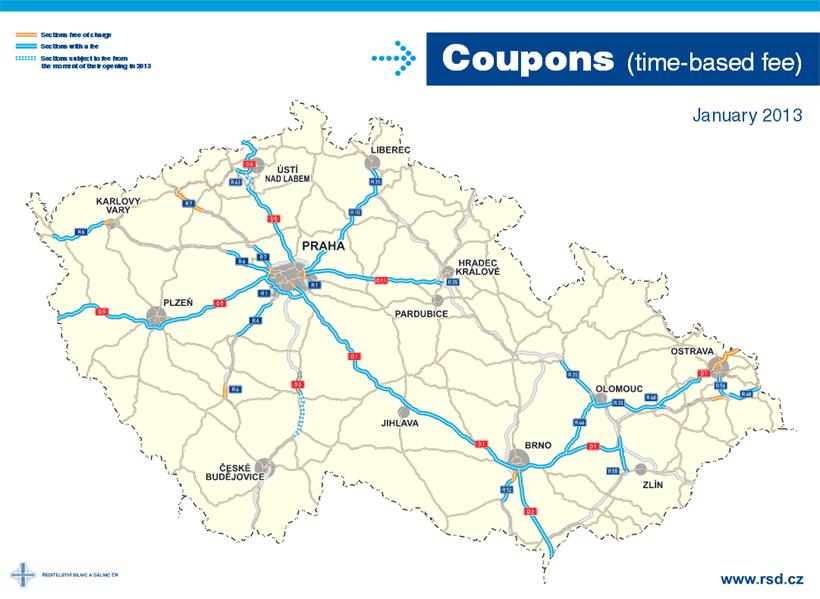 Płatne drogi w Czechach mapa
